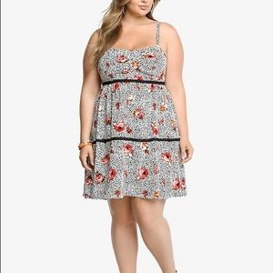 Torrid Floral Animal Print Lace Trim Challis Dress